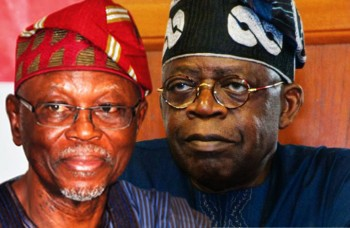 APC National Chairman John Odigie-Oyegun (L) and APC leader Bola Ahmed Tinubu