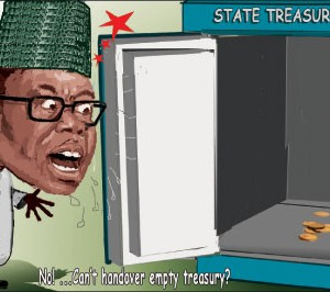 An illustrative image of an empty safe after theft of its contents by apparatchiks of a corrupt government. (Image credit Daily Independent Nigeria)