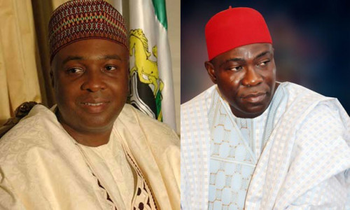 Senate President Bukola Saraki (left) and Deputy Senate President Ike Ekweremadu