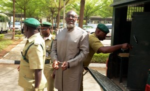 Olisa Metuh arrived at the court in handcuff, Tuesday, 19 January 2016