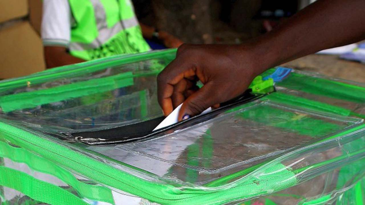 INEC ballot bag being used during an election.