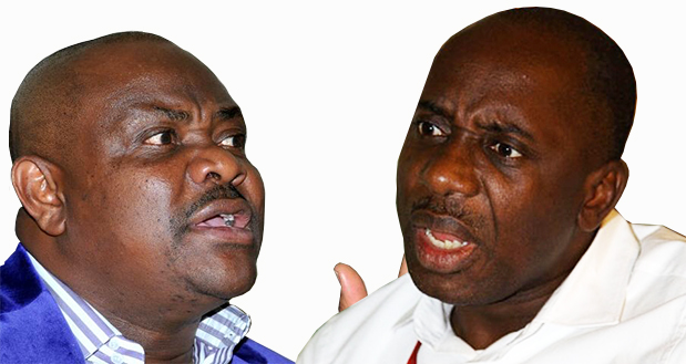 Nyesom Wike (L) and Rotimi Amaechi have been in a fierce battle for political control over Rivers state affairs