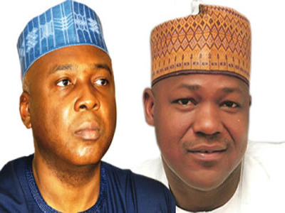 Senate President Bukola Saraki (L) and House of Rep Speaker Yakubu Dogara