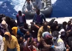 Migrants on the sea, seeking to enter Europe