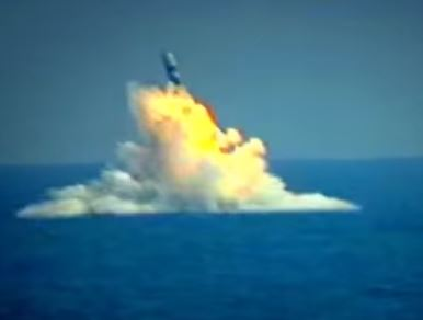 Missile fired from a submarine