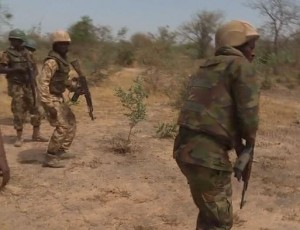 Nigerian army personnel at Sambisa forest fighting Boko Haram