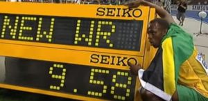 In Berlin, during the 2009 World Championships, Bolt broke his 100m world record of 9.69 seconds, recording 9.58 seconds