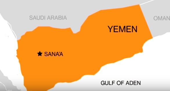 Map showing Yemen, Gulf of Aden, Oman, Saudi Arabia, Sana'a