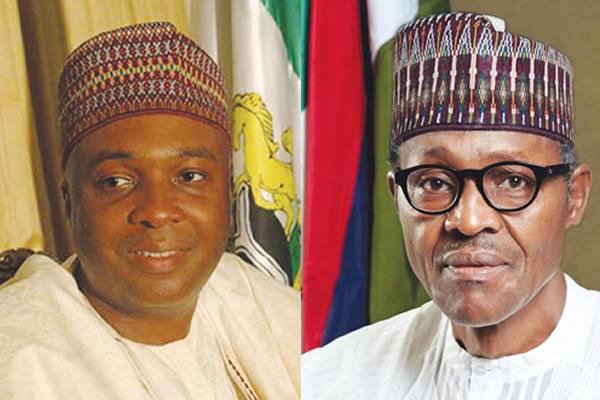 Nigeria President Muhammadu Buhari, R, and Senate President Bukola Saraki
