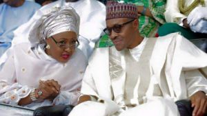 Aisha Buhari (L) and Muhammadu Buhari