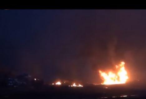Fire, an explosion