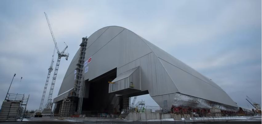 An anti-radiation [airtight] steel shield has been placed at Chernobyl nuclear reactors where the world's worst nuclear accident occurred in 1986. The shield is more than 350 feet in height and over 530 feet long