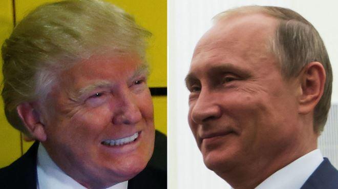 Donald Trump (L) and Vladimir Putin (Image credit Sky News)
