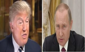 Donald Trump (L) and Vladimir Putin