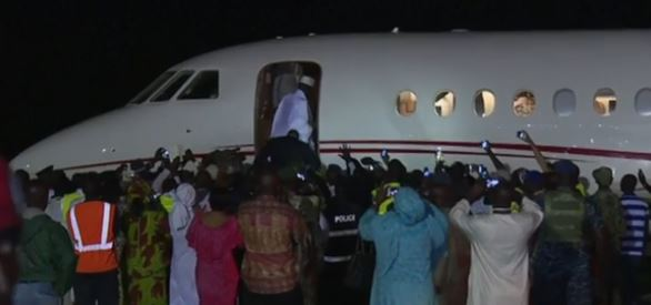 Jammeh boarding a jet [on Saturday, the 21st Jan. 2017] to exit from The Gambia