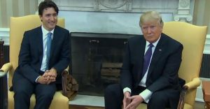 Canadian prime minister Justin Trudeau (L) and U.S. president Donald Trump
