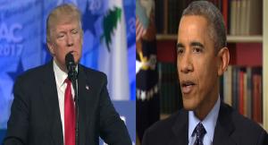 Donald Trump (L) and Barack Obama