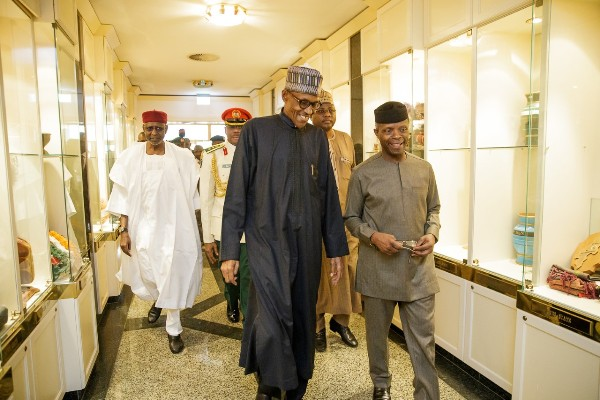 President Buhari with vice president Osinbajo at the Presidential Villa on Friday, 10th March 2017. (Image credit NAN)