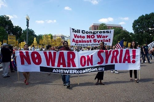 Protesters expressing disgust over the Syrian war, April 2017