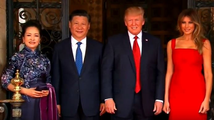 U.S. president Donald Trump (2nd from right) and Chinese president Xi Jinping (2nd from left)