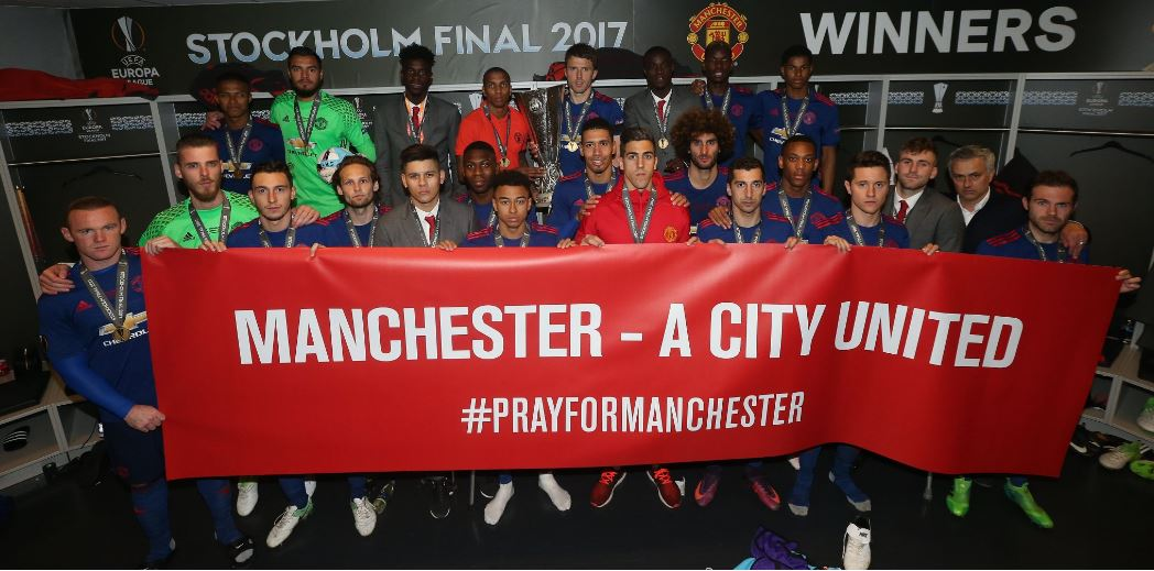 Manchester United dedicated its 2017 Uefa Europa League victory to the victims of Manchester Arena terror attack on May 2017. (Photo credit @ManUtd)