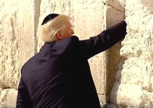 President Trump prays at the Western Wall in Jerusalem, 22 May 2017