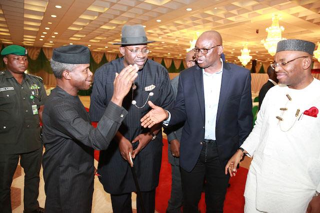 Acting president Yemi Osinbajo (L) greets governors of Bayelsa (Dickson), Ekiti (Fayose) and Akwa Ibom (Udom) in presidential villa, Abuja