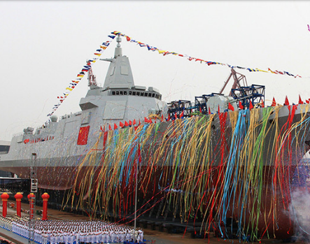 Chinese Navy's home-grown destroyer, a 10,000-tonne warship as seen during its launching in east China's Shanghai Municipality on 28 June 2017