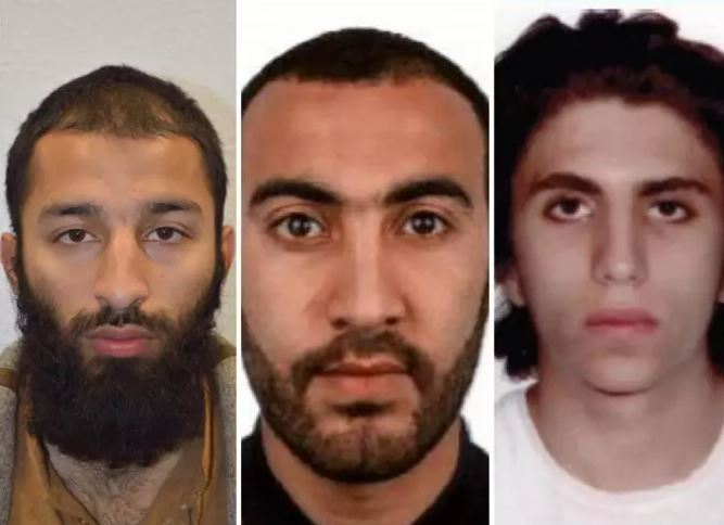 Terrorists who attacked London on 3rd June 2017 - L-R are Khuram Shazad Butt, Rachid Redouane and Youssef Zaghba (Image credit: Metropolitan Police)