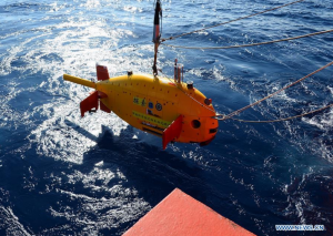 China's self-developed underwater robot , July 24, 2017. It is expected to stay underwater for 20 hours. (Xinhua/Zhang Xudong)