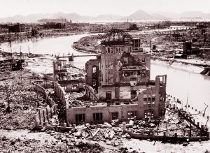 The remains of the Prefectural Industry Promotion Building, later preserved as a monument - known as the Genbaku Dome - at the Hiroshima Peace Memorial. (Image credit United Nations)