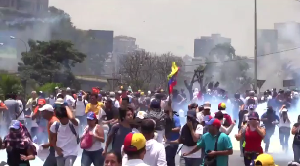Venezuela crisis - protesters march on the streets.
