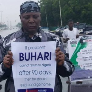Charles Chukwuemeka Oputa [Charly Boy], during the protest against President Buhari, August 2017