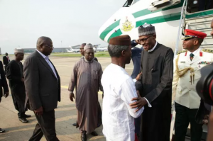 President Buhari, who spent 105 days' in the UK on medical grounds was received/welcomed to his home country by Vice President Yemi Osinbajo, 19/08/2017