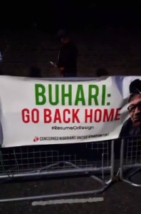 Protesters in London, United Kingdom, saying that President Buhari should return to Nigeria, 18th August 2017
