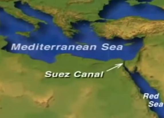 Suez Canal, Red Sea, Mediterranean Sea