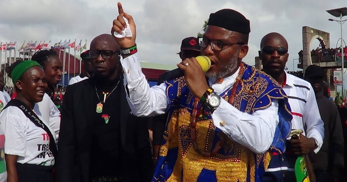 IPOB leader Nnamdi Kanu with a number of his direhard supporters