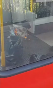 The image of a bag on fire inside a train at Parsons Green station, 15th September 2017.
