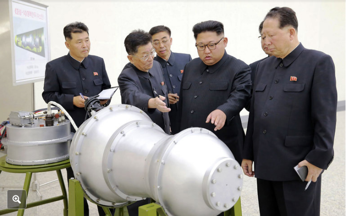 North Korea's Supreme Leader Kim Jong-un inspects what the communist State claims to be hydrogen bomb that can be mounted on a delivery vehicle. [Image credit Korean Central News Agency (KCNA), 3rd Sept. 2017].