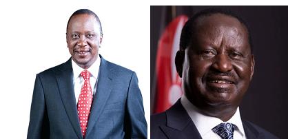 Uhuru Kenyatta (L) and Raila Odinga