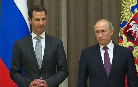 Bashar Hafez al-Assad (L) and Vladimir Putin (R)