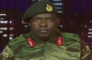 Zimbabwe: Maj Gen Sibusiso Moyo reading out a statement on national TV, 15th November 2017