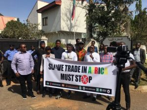 Nigerians protested at the Libyan Embassy, Abuja, condemning the ongoing slave trade in Libya, 30 Nov 2017