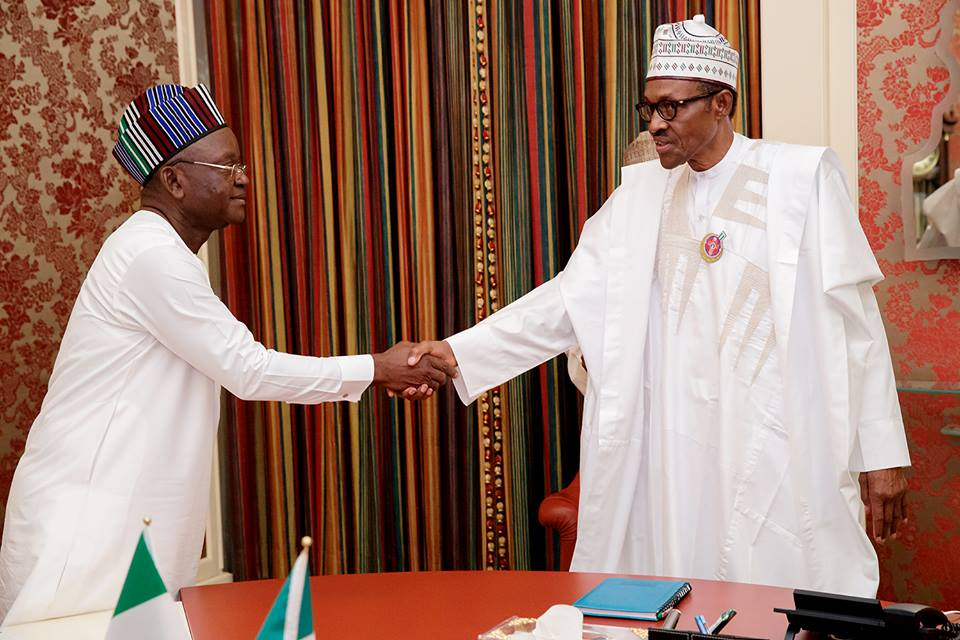Muhammadu Buhari (R) and Samuel Ortom in State House, Abuja, on 9th January 2018, when Ortom visited the President over killings in Benue
