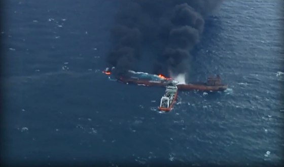 Plumes of smoke from Iran's oil tanker burning off China coast, Jan 2018