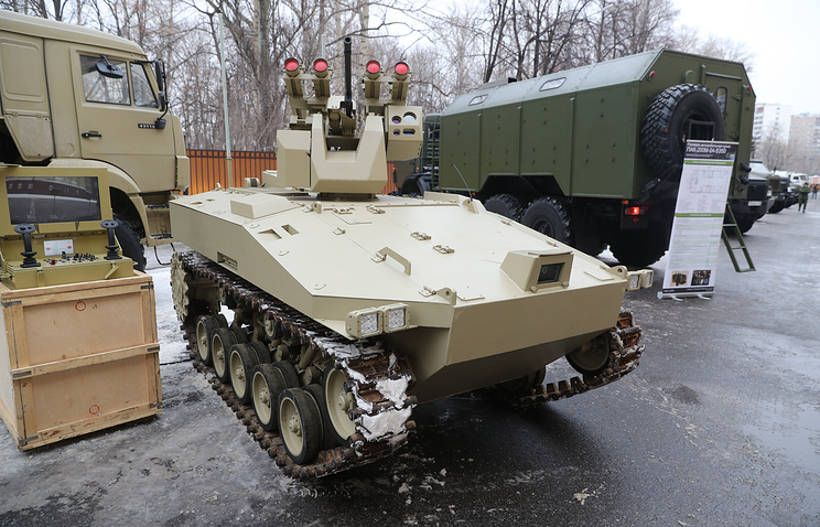Russian military's Robotic Strike Vehicle (Image credit Artiom Korotaev & TASS)