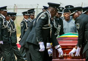 Vice President Osibanjo with police pall bearers, mourn Ekwueme during the burial actitivies in Oko, Anambra State. (Image credit Twitter/@akandeoj)