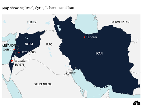 Map showing Israel, Syria, Lebanon, Iran, Turkey, Israel, Saudi (Image credit NBC News)