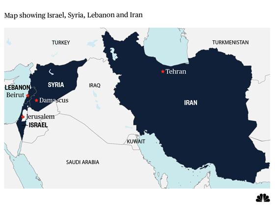 Map showing Israel, Syria, Lebanon, Iran, Turkey, Israel, Saudi (Image credit NBC News)