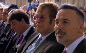 Elton John and some of the celebrities and guests at the wedding between Meghan Markle and Prince Harry at Windsor Castle, 19 May 2018